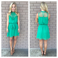 Green Irish Lace Sleeveless Dress