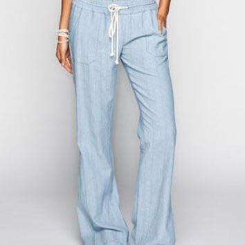 Roxy Ocean Side Womens Pants Chambray  In Sizes