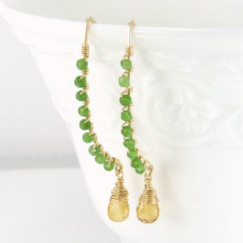 bright long earrings - green and gold jewelry - long dangle earrings - 14k gold fill earrings - unusual earrings - unique handmade jewelry