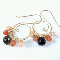 spiral drop earrings - unusual gemstone jewelry - 14k gold filled earrings - handmade artisan earrings - smokey quartz and peach moonston