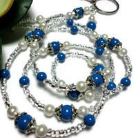 Lanyard Necklace for Id Badge Lapis Blue White Pearl Angel Jewelry | PinkCloudsAndAngels - Accessories on ArtFire