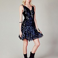 Free People Womens Shimmy Shimmy Party Dress - Silver L