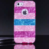 iPhone 5/5S Otterbox Case - Large Horizontal Stripes Blush/Raspberry/Peacock Glitter iPhone 5/5S Commuter Case - iPhone 5/5s Otterbox Cover