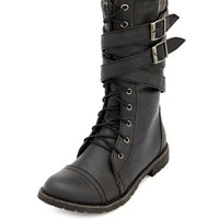 LACE-UP BUCKLE STRAP COMBAT BOOTIE