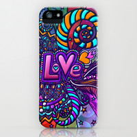 Love (swag awesome girly retro sexy rainbow hearts feathers swirls orange teal pink purple) iPhone & iPod Case by EllipsisArts