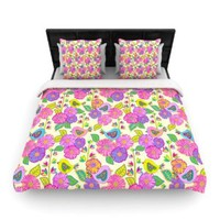 Kess InHouse 88 by 104-Inch Julia Grifol My Birds and My Flowers Duvet Cover, King