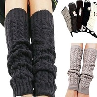 Sanwood Women's Winter Knit Crochet Leg Warmers Leggings