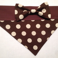 Dog Bandana - Brow Polka Dots with Bow