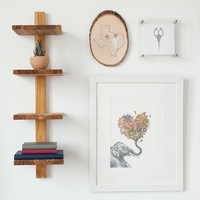 Minimalist Teak Wall Shelf