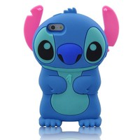 HELPYOU Blue/Pink Iphone 5 C New 3D Cartoon Stitch Movable Ear Soft Silicone Rubber Case Protective Cover for Iphone 5C