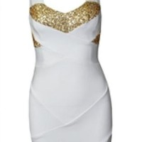 White Backless Party Dress with Gold Sequins