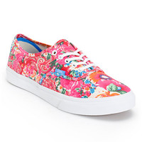 Vans Women's Authentic Slim Pink & White Floral Print Shoe