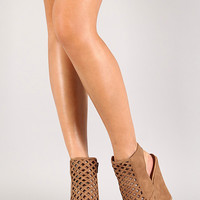 Qupid Finder-243 Caged Cut out Platform Wedge