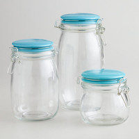 Glass Canisters with Aqua Clamp Lids