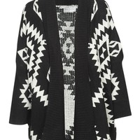 Aztec Print Open Front Oversized Knit Cardigan in Black