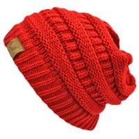 Red Thick Slouchy Knit Oversized Beanie Cap Hat