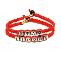 Stay Strong Bracelet Set, Red Macrame Hemp Jewelry - Made to Order