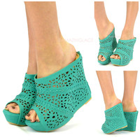Mavery Sea Green Perforated Slip On Wedge