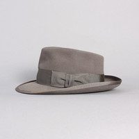 50s WHIPPET Royal Stetson FEDORA / Grey Fur Felt HAT, 6 7/8