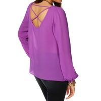Purple X Back Blouse