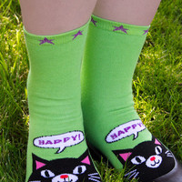 Socks by Sock Dreams » .Socks » Toe Socks » Happy Kitty Tabi Crew Socks