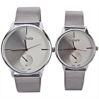 Valentine WoMaGe Couple Watch Strips Hour Marks with Round Dial Steel Watchband (White)