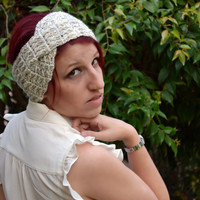 Crochet turban in oat, hairband, headband, headwrap, ear warmer