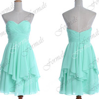 2014 Bridesmaid Dresses, Mint Short Prom Dresses, Strapless Chiffon Short Cocktail Dresses, Wedding Party Dresses, Bridesmaid Dresses