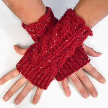 Red Tweed Fingerless Gloves Ruby Wrist Warmers Cable Handknit