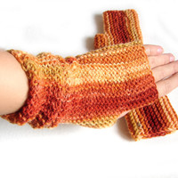 Knit armwarmers, orange and brown striped fingerless mittens, fingerless wool gloves
