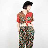 Vintage Red Black Pants Set Shirt Top Outfit Draped Boho Blouse Harem Pants Festival Two Piece Mixed Print Festival 80s 90s M Medium L Large