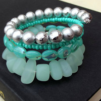 Seafoam Green Wrap Bracelet: Sea Glass Pebble Mint Green Czech Glass Beaded Beach Jewelry, Arm Candy, Wrist Party