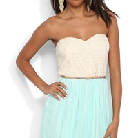 Strapless Dress with Daisy Lace Bodice and Pleated Chiffon Skirt