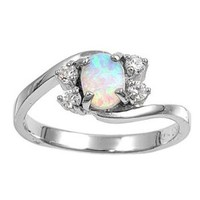 Swirl Tension Oval 7MM Lab White Opal Ring Sterling Silver