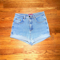 Vintage Denim Cut Offs - 90s Stone Washed Stretch Jean Shorts - High Waisted Cut Off/Frayed/Rolled up/Distressed Designer Shorts Size 9/10