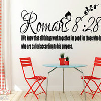 Romans 8:28 Bible Quote Christian Wall Sticker Inspirational Vinyl Decal Art