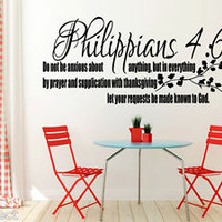 Philippians 4:6 Bible Quote Christian Wall Sticker Inspirational Vinyl Decal Art
