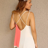 'Two-Faced' Cross Back Tank (Coral)