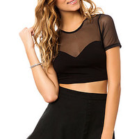 The Scuba Mesh Crop Top in Black