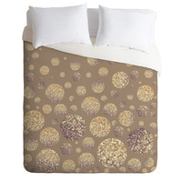 Lisa Argyropoulos Bokeh Dots Cafe Latte Duvet Cover