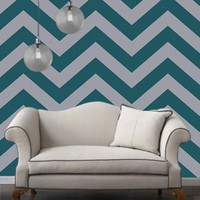 Temporary Wallpaper - Chevron - Teal