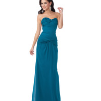 2014 Prom Dresses - Teal Chiffon Drop Waist Gown