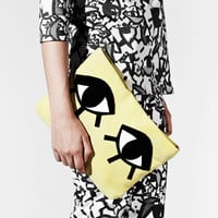 JOANNA PYBUS A/W13 Chartreuse Leather Monster Clutch Bag