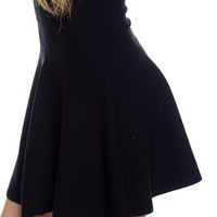Higher and Higher High Waist Knit Skater Skirt - Black