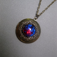 Dusty Arizona Dragons Breath Fire Opal Locket Necklace