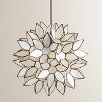 Small Capiz Lotus Hanging Pendant Lantern - World Market
