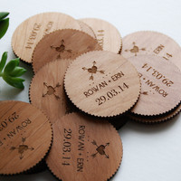 Alder Wood Save The Date Magnet - Laser Cut Arrow Design - Set of 100