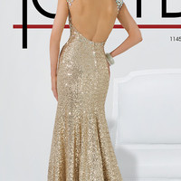 Long Gold Sequin High Neck Gown