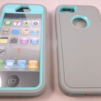 Iphone 5 5G 5S Body Armor Defender Series Hybrid Comparable Case Cover Gray on Teal + Free USB Cable