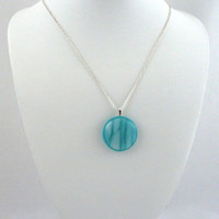 Round Turquoise Blue Glass Pendant Necklace with White Water Wave Design